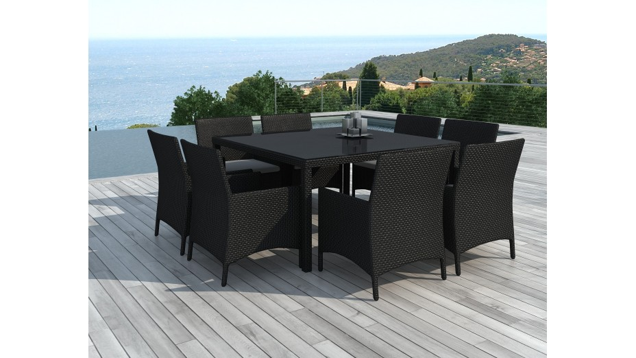 Table carree 8 personnes resine tressee for Salon de jardin carre