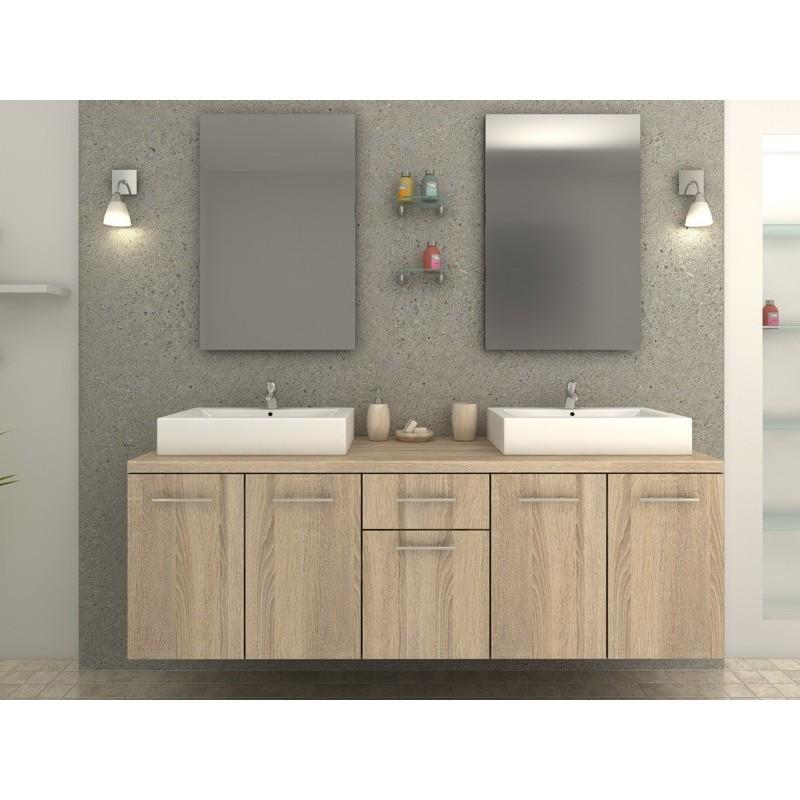 Olga ch ne naturel meuble de salle de bain naturel for Meuble salle de bain naturel