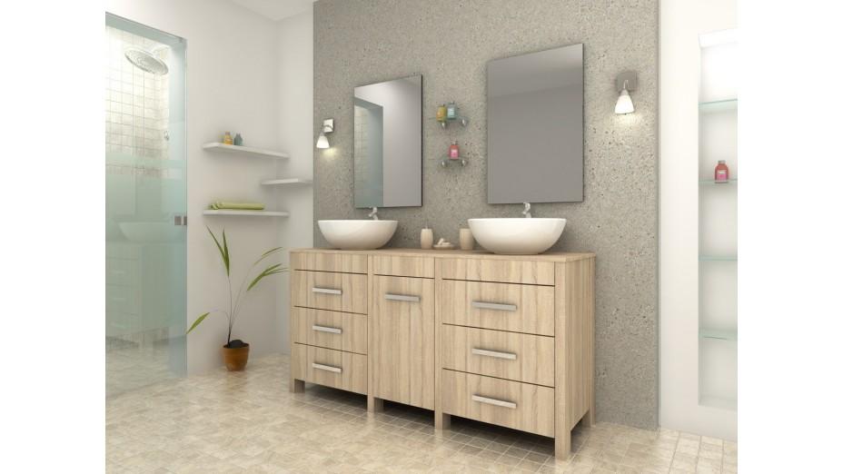 Complet meuble salle de bain double vasque ronde ch ne clair - Meuble salle de bain romantique ...