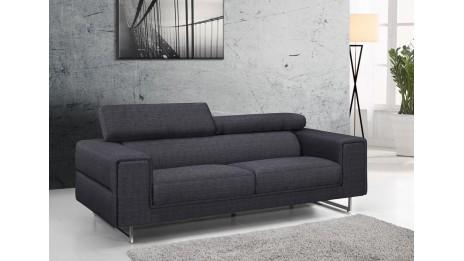 Canapé moderne 3 places en tissu avec tétières - STREET 3 Gris Chablis
