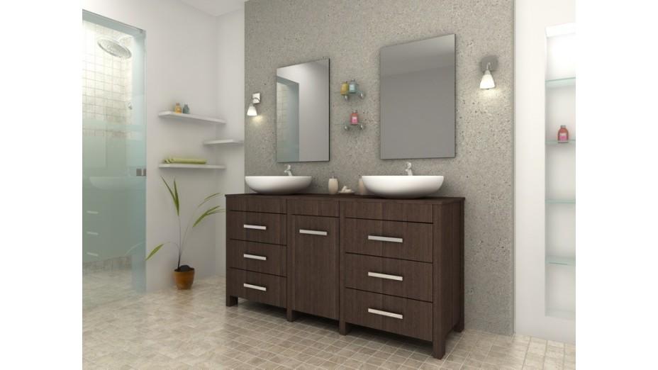 meuble de salle de bain design weng complet double vasques rondes. Black Bedroom Furniture Sets. Home Design Ideas