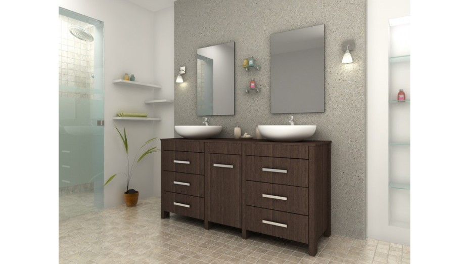 Meuble de salle de bain design weng complet double for Meuble double vasque salle de bain