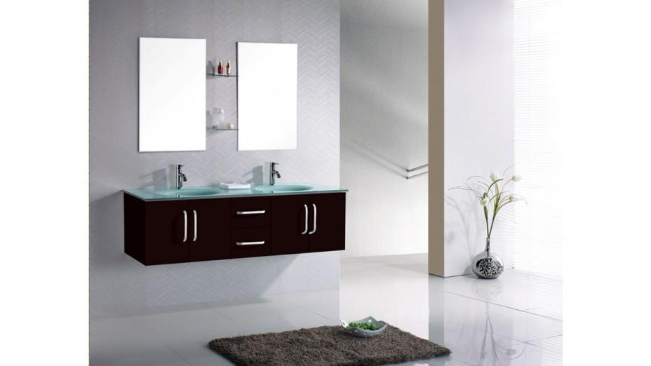 Meuble salle de bain suspendu weng double vasque en verre for Meuble salle de bain suspendu bois