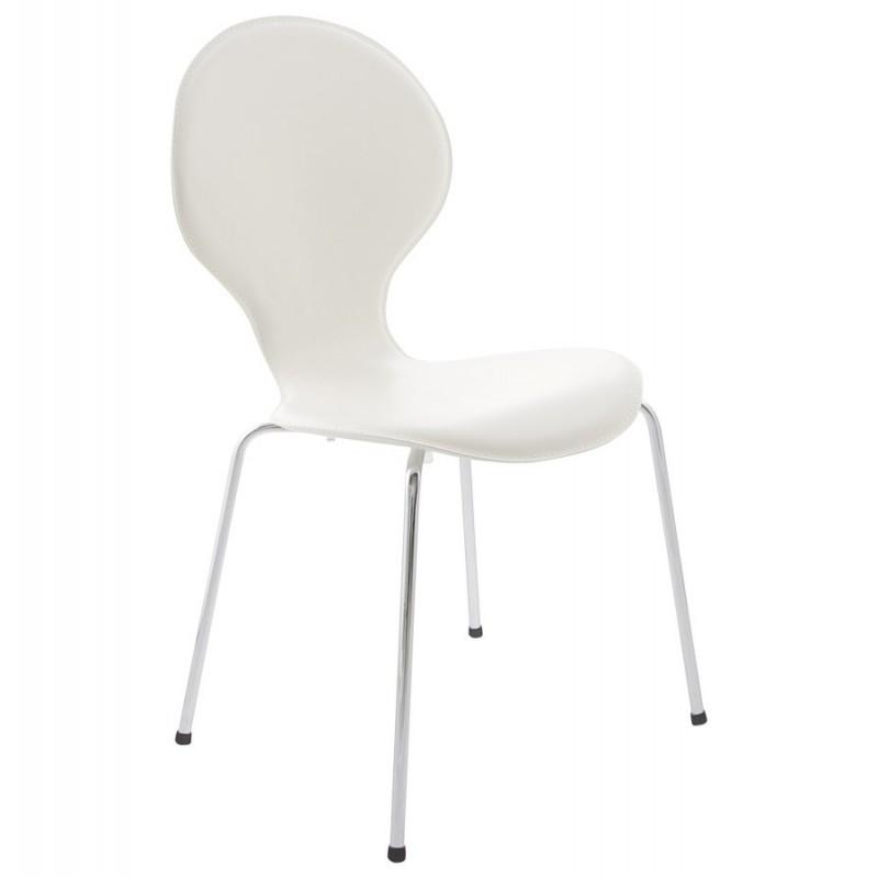 chaises simili cuir blanc maison design. Black Bedroom Furniture Sets. Home Design Ideas