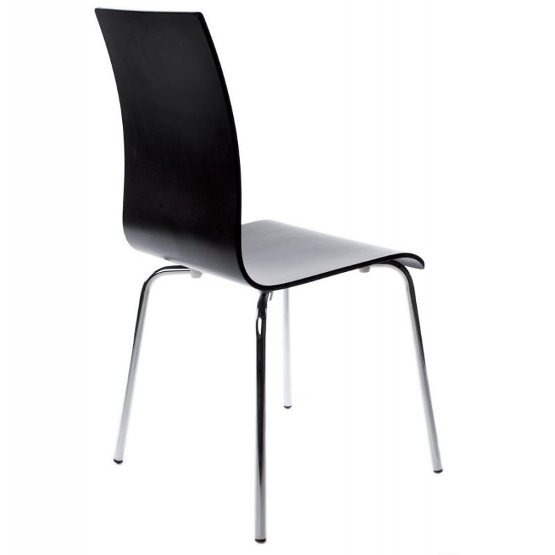 Erasme chaise simple en bois noir avec pieds chrom s - Chaise en bois noir ...
