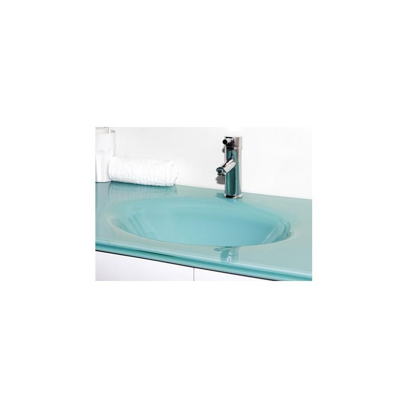 Meuble salle de bain suspendu weng double vasque en verre - Meuble salle de bain romantique ...
