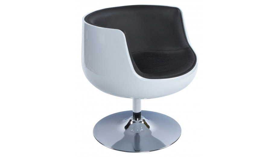 Kode fauteuil coque boule blanc et noir pivotant - Fauteuil design boule ...