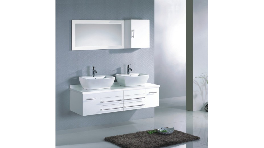 meuble salle de bain moderne suspendu double vasque mitigeurs compris. Black Bedroom Furniture Sets. Home Design Ideas