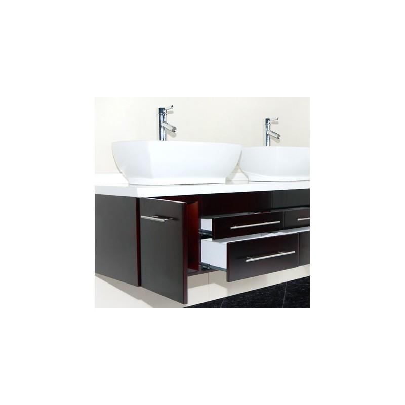 Meuble salle de bain moderne suspendu double vasque - Meuble salle de bain romantique ...