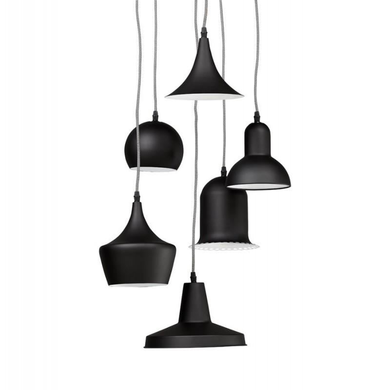 multi suspension avec 6 abat jours m tal. Black Bedroom Furniture Sets. Home Design Ideas
