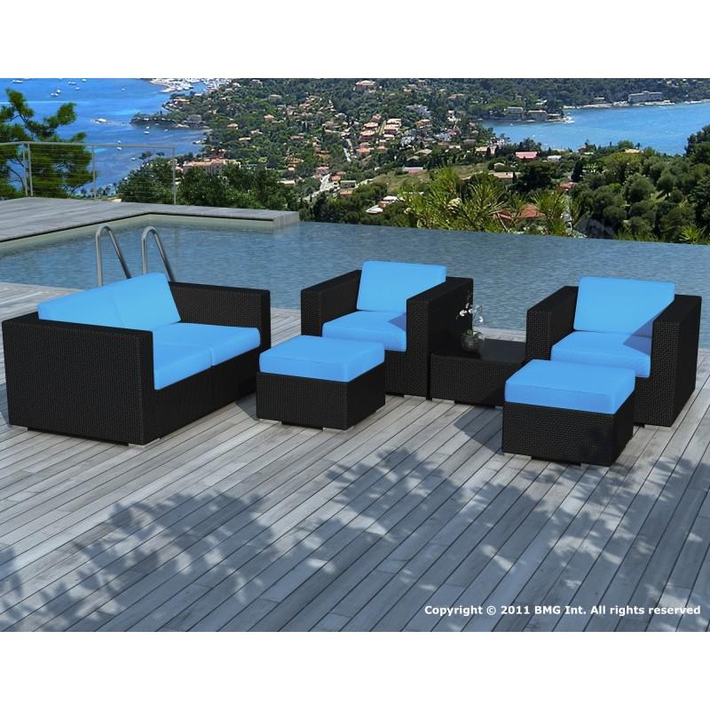 Pausa noir bleu salon de jardin en r sine tress e for Salon jardin bleu