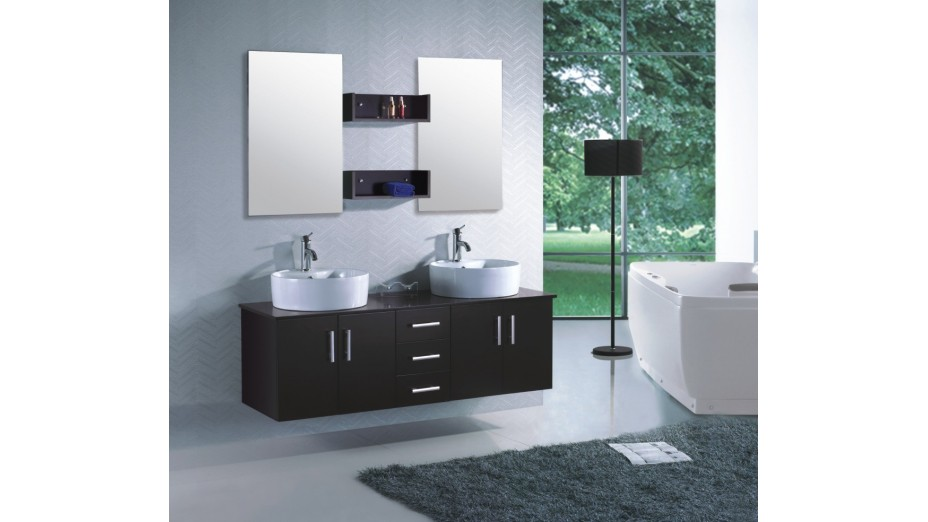 meuble de salle de bain double vasque suspendu ensemble complet. Black Bedroom Furniture Sets. Home Design Ideas