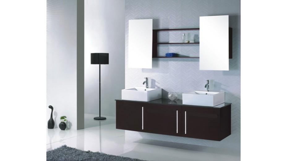 Meuble de salle de bain design double vasque en c ramique - Meuble salle de bain romantique ...