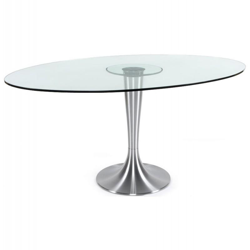 Table ovale en verre tremp transparent pied aluminium - Table verre ovale ...
