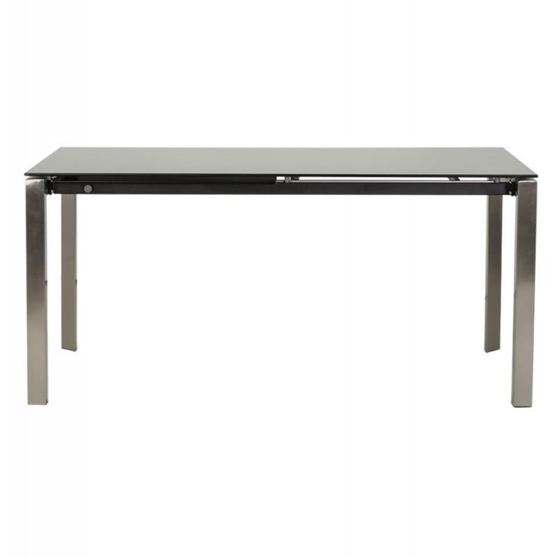 Bakou table extensible verre tremp noir for Table extensible interieur