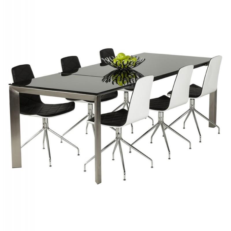Bakou table extensible verre tremp noir - Table salle a manger verre trempe noir extensible ...