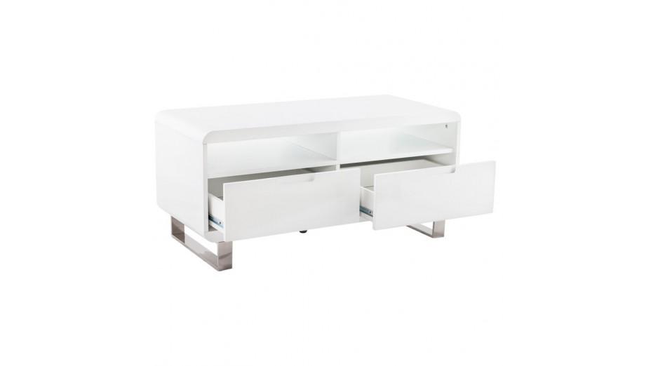 Meuble Tv Blanc Laque Habitat : Meuble Télé Blanc Laqué Design 1 Mètre – Paris – Delorm Design