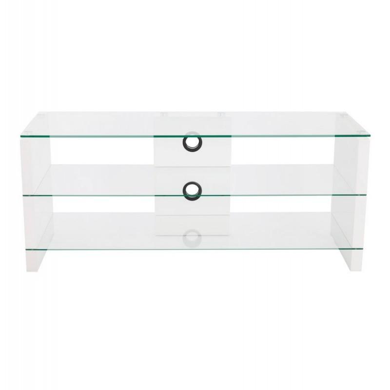 meuble tv blanc laque verre tv design berlin meuble tv en verre transparent - Meuble Tv Blanc Laque Verre