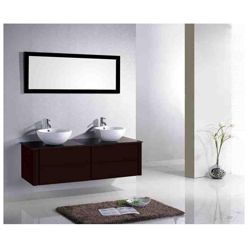 L 39 ensemble de salle de bain double vasque cuba pr sente un - Meuble salle de bain entrepot du bricolage ...