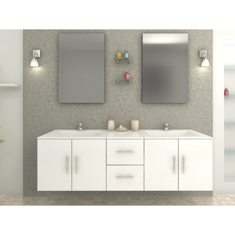 meuble de salle de bain design blanc double vasque avec robinetterie. Black Bedroom Furniture Sets. Home Design Ideas