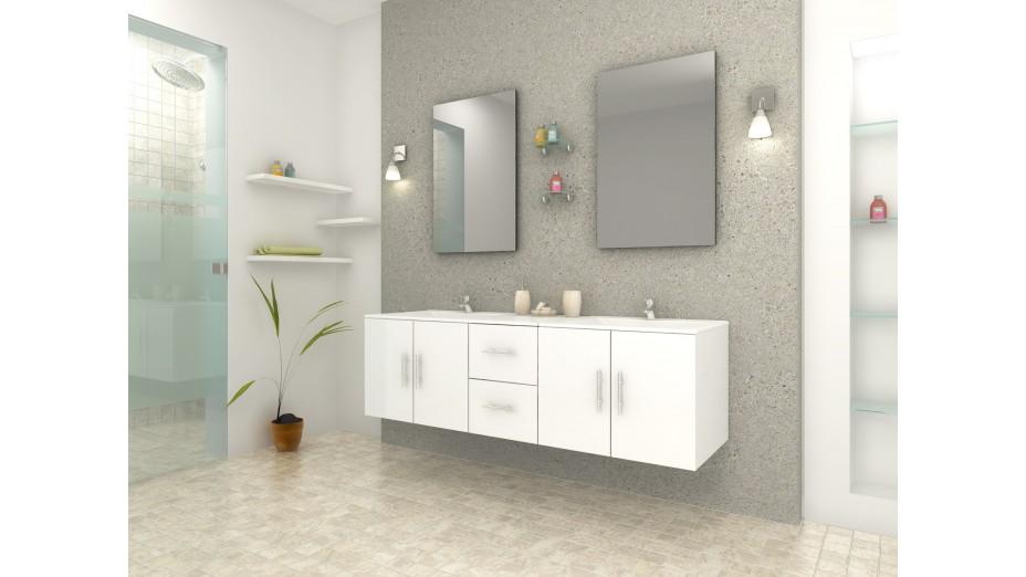 Meuble de salle de bain design blanc double vasque avec for Meuble salle de bain blanc double vasque