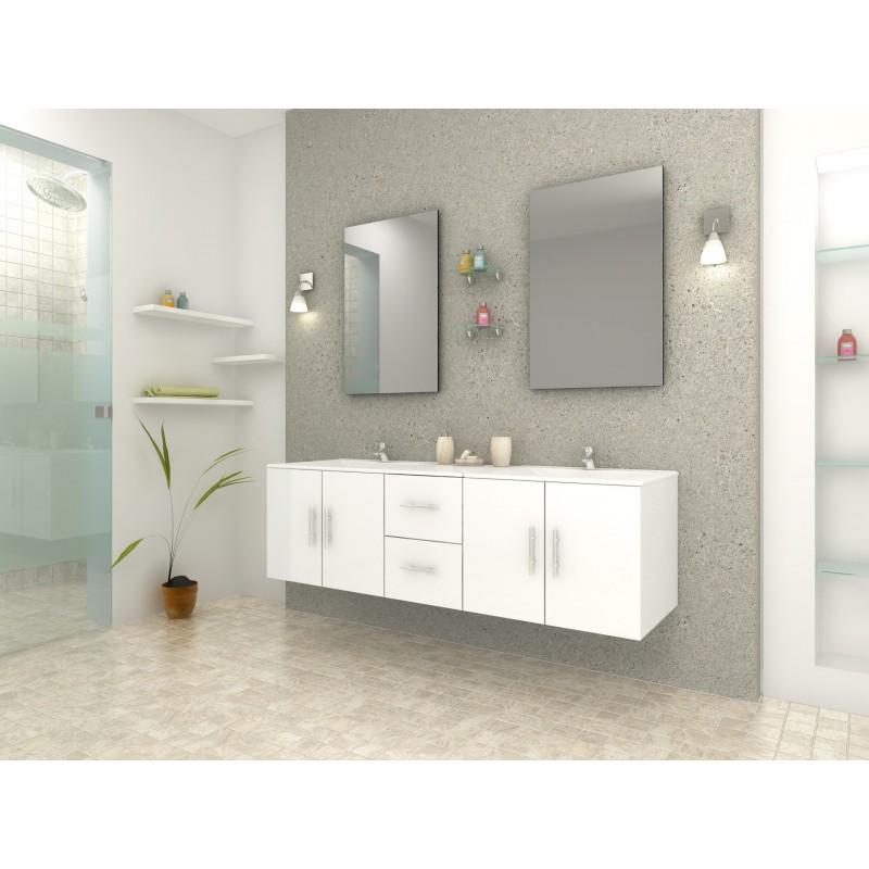 Meuble de salle de bain design blanc double vasque avec - Vasque salle de bain design ...