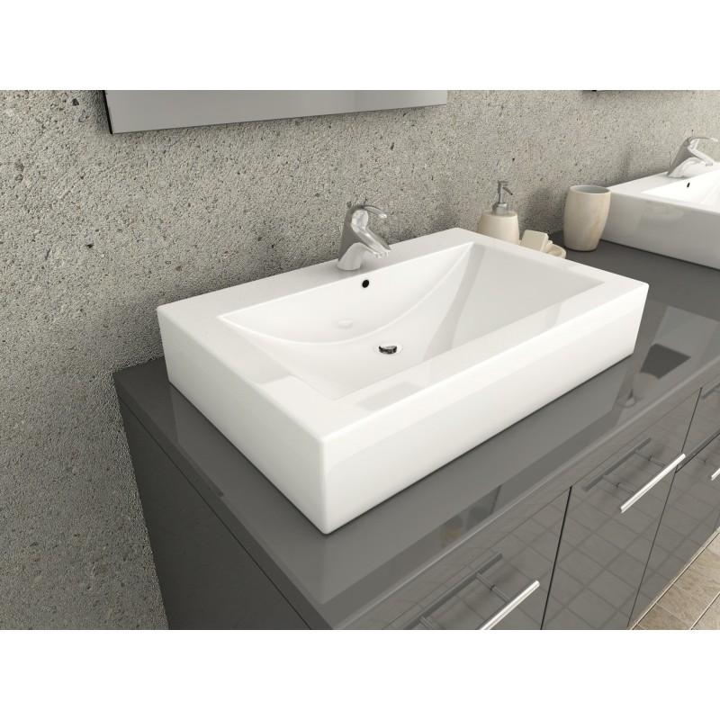 Ensemble complet meuble salle de bain gris laqu double - Meuble salle de bain romantique ...