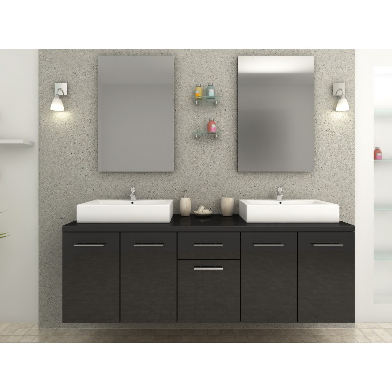 meuble de salle de bain design double vasque rectangulaire noir. Black Bedroom Furniture Sets. Home Design Ideas