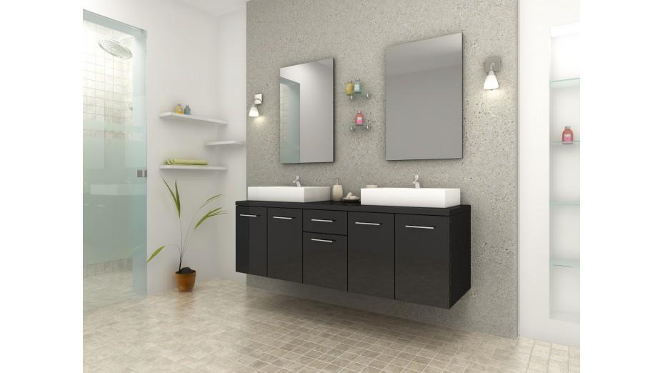 Meuble de salle de bain design double vasque rectangulaire for Salle de bain rectangulaire