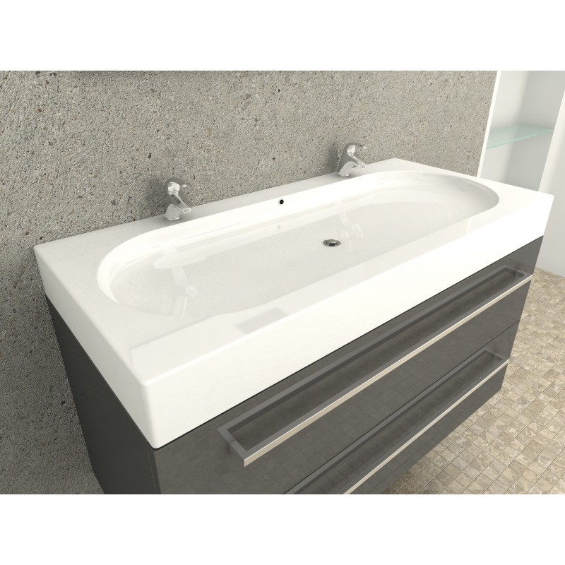 Double Vasque 100 Cm Awesome dyna Vo Vasque Plan Opaline Cm Avec