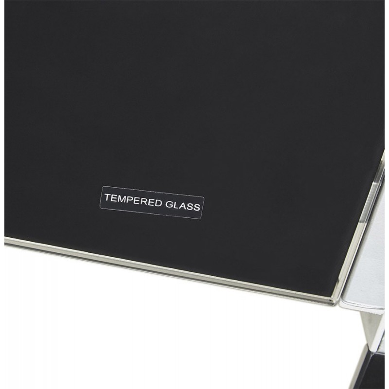 Mercure bureau d 39 angle design plateau verre noir for Meuble d angle bureau noir