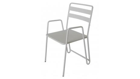 B.M.I. Blanc - Lot de 2 Chaises cosy et moderne en métal