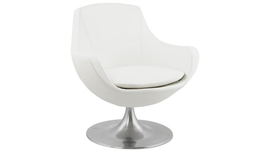 Lounge fauteuil moderne en simili cuir blanc - Fauteuil cuir moderne ...