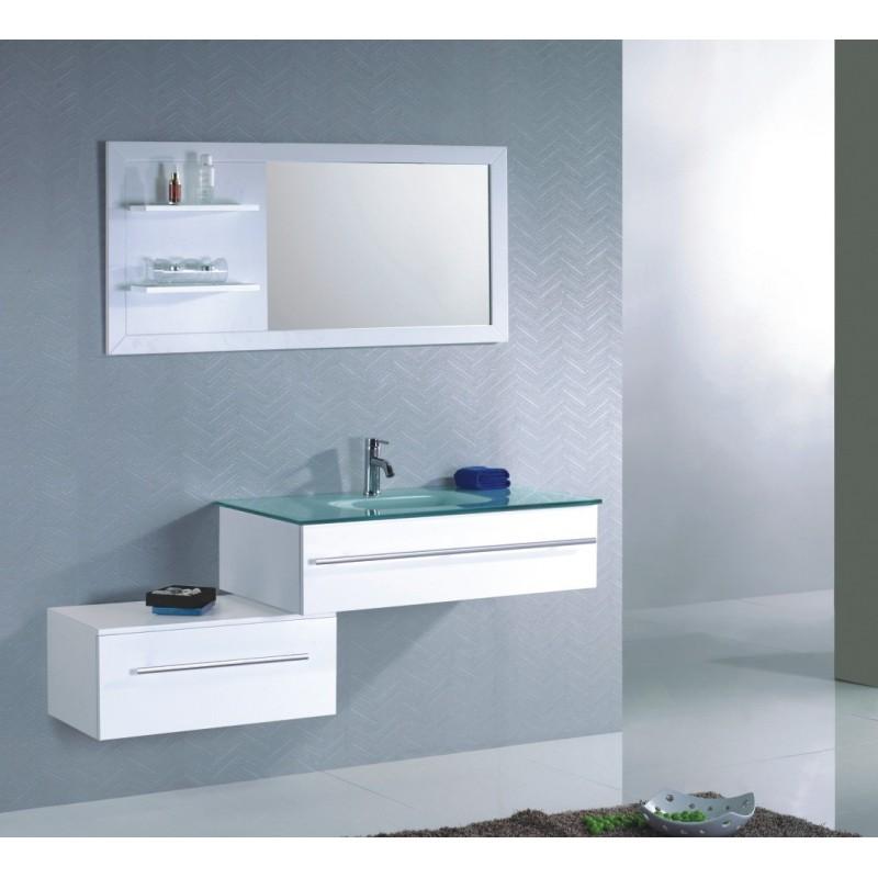 Ensemble meuble de salle de bain simple vasque en verre tremp - Meuble salle de bain romantique ...