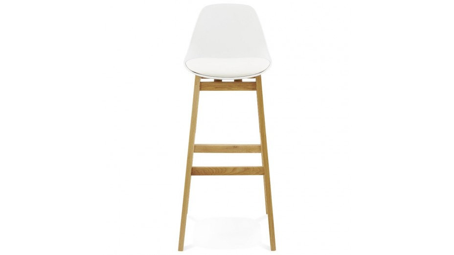 Ring tabouret de bar blanc pied bois naturel for Chaise bar blanc bois