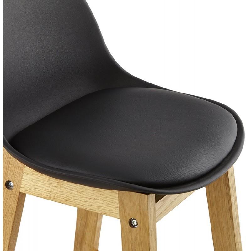 ring tabouret de bar noir pied bois naturel. Black Bedroom Furniture Sets. Home Design Ideas