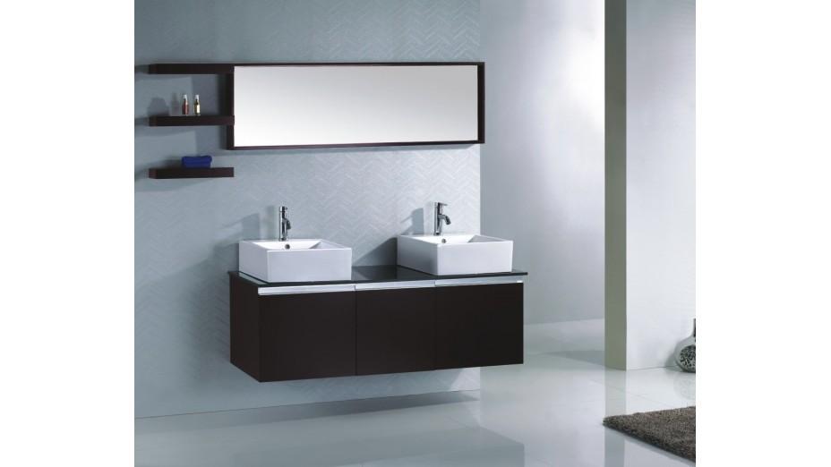 Ensemble complet meuble salle de bain weng double vasque for Salle de bain delorm design