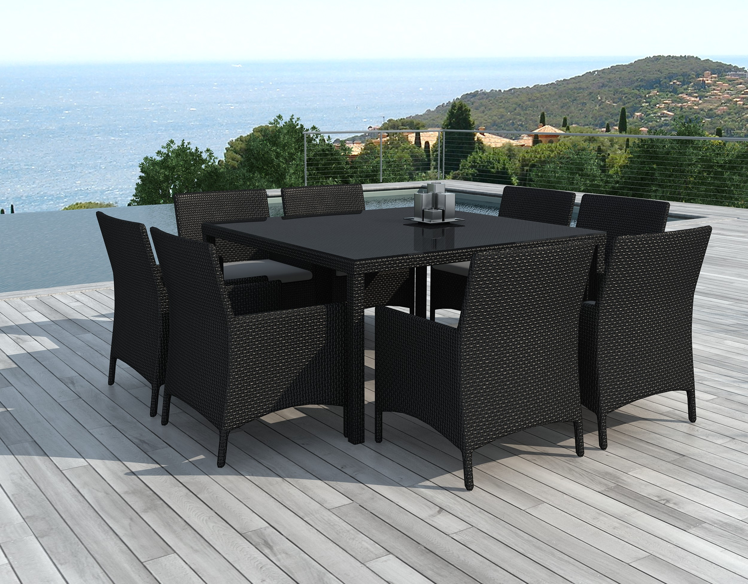table et chaises de jardin 8 personnes en r sine tress e noire le carr. Black Bedroom Furniture Sets. Home Design Ideas