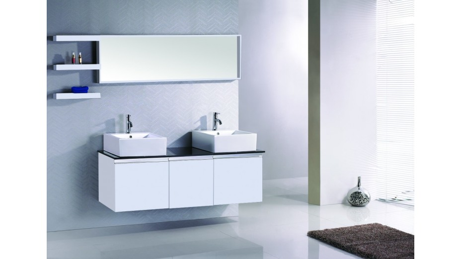 Ensemble complet meuble salle de bain weng double vasque for Meuble 2 vasques