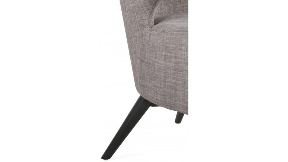 Fauteuil lounge tissu Gris pied bois noir - MARIO
