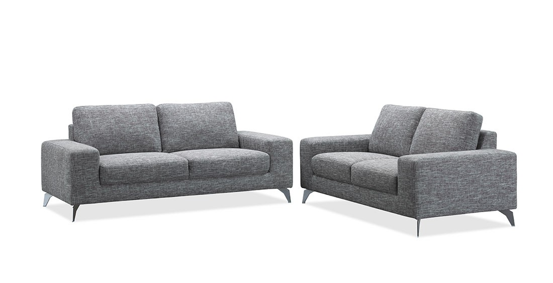 Canap design en tissu fixe gris 2 places longueur 180 cm - Canape en tissus ...
