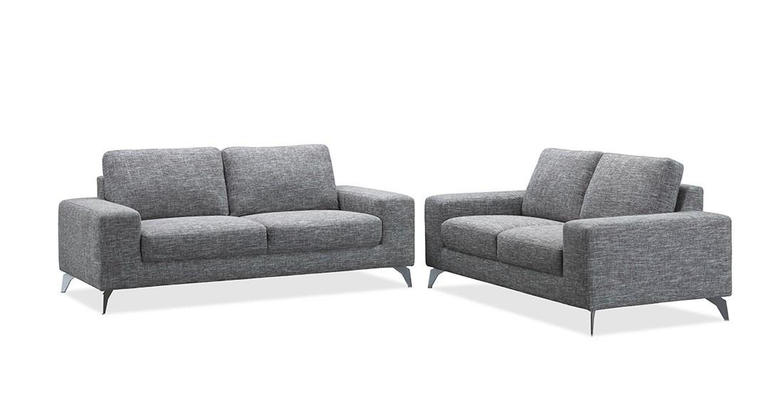 Canap de salon design en tissu gris longueur 2 m tres for Canape 3 metres