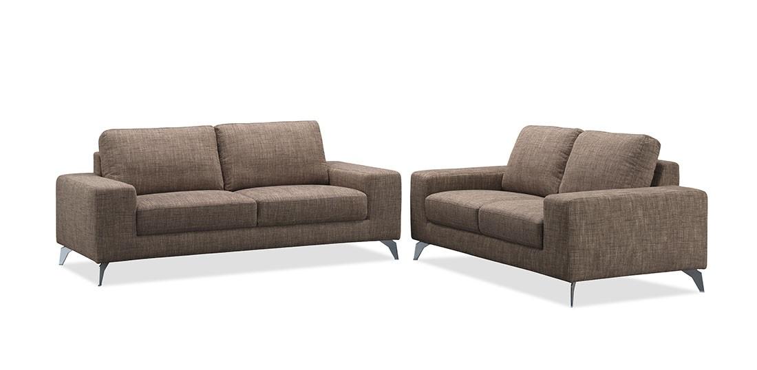 Canapé de salon design en tissu fixe marron longueur 200 cm