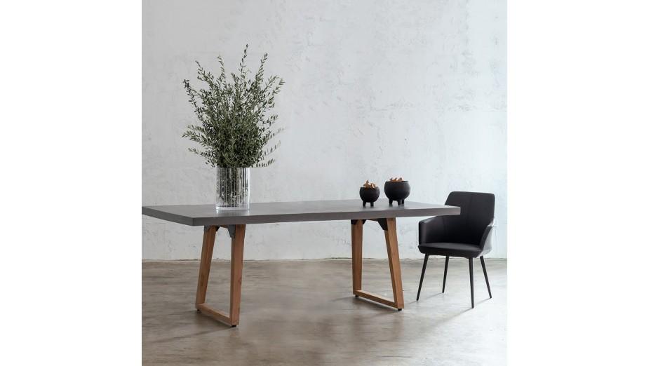 Table de repas design IRON 200 cm pieds teck