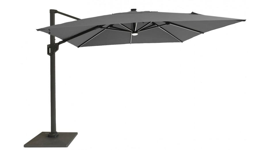 Parasol déporté Full Led 300 x 300 cm toile Hotsun gris clair - SOLI