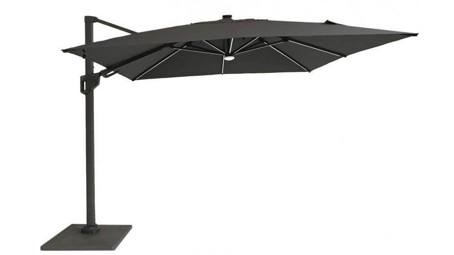 Parasol déporté Full Led 300 x 300 cm toile Hotsun gris foncé - SOLI