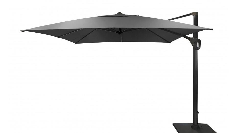 Parasol déporté 300 x 300 cm toile Hotsun gris foncé - SOLI