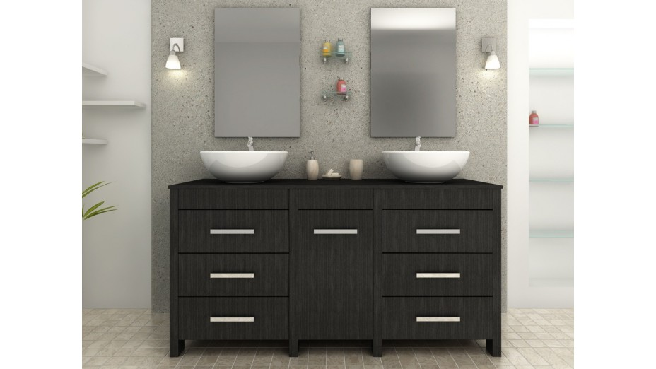 ensemble complet meuble de salle de bain noir vasques doubles. Black Bedroom Furniture Sets. Home Design Ideas