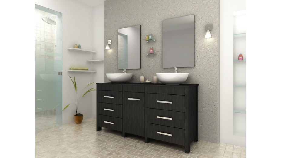 Meuble de salle de bain noir double vasque - Balboa