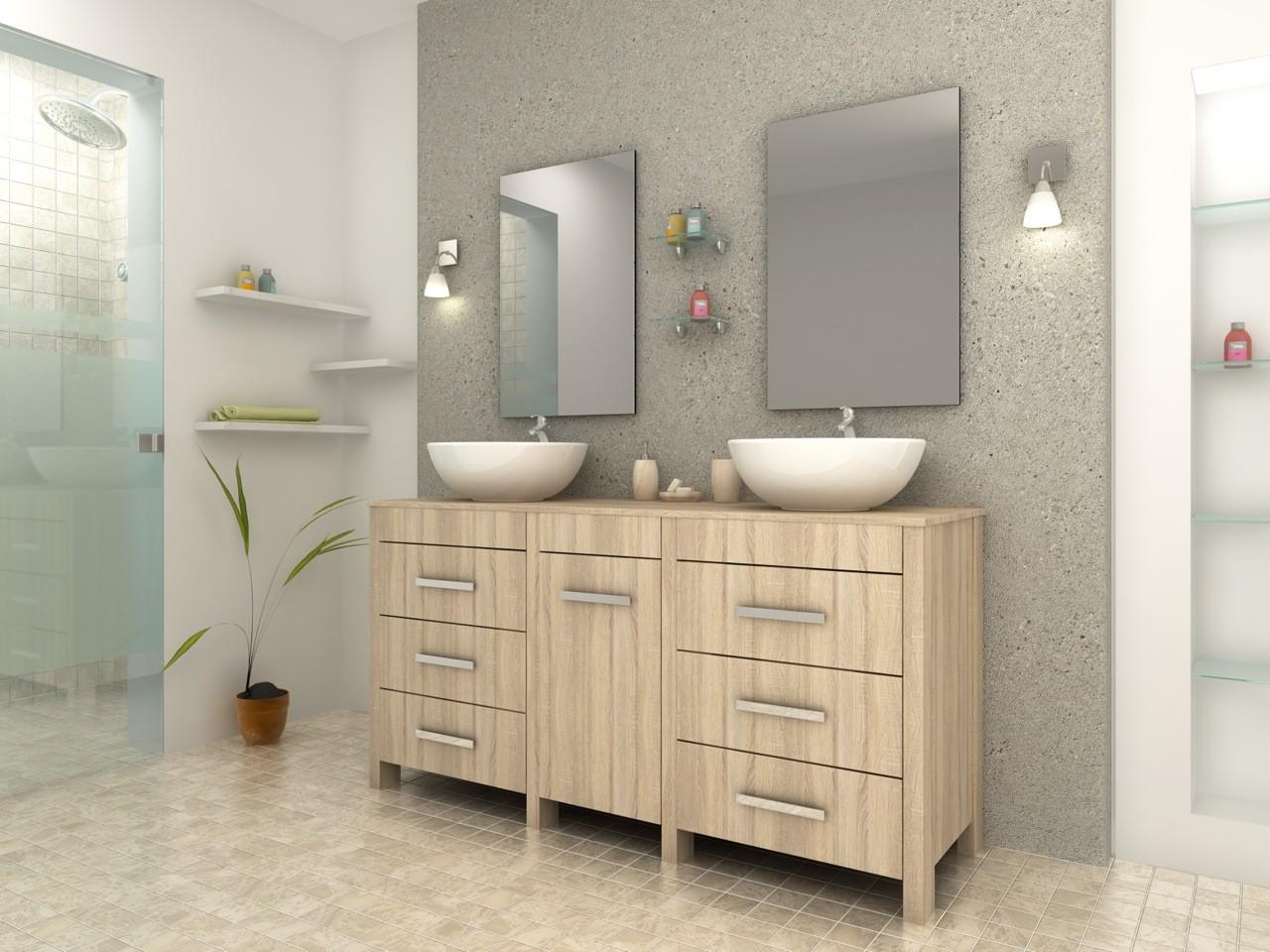complet meuble salle de bain double vasque ronde ch ne clair. Black Bedroom Furniture Sets. Home Design Ideas